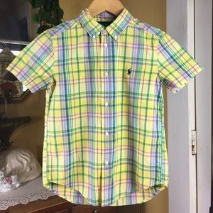 Boys Size 7 Plaid Button Front SS Yellow Shirt